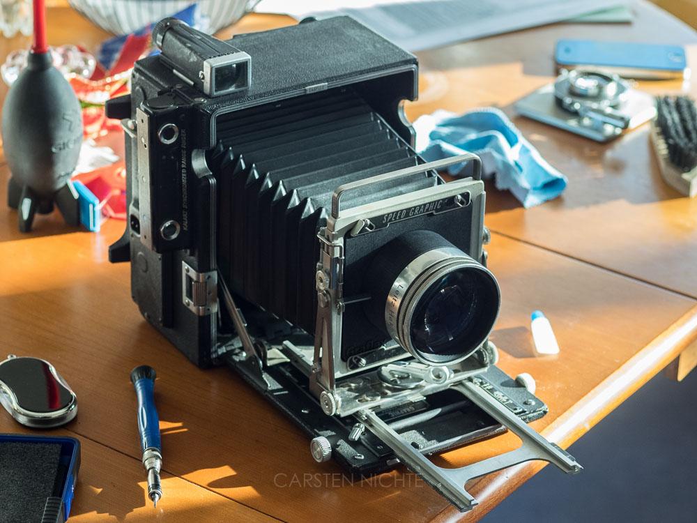 Lensboard für Leitz Hektor 150mm f2.5 an einer Graflex Speed Graphic 4x5