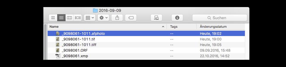 Hier verstehen sich Affinity und Lightroom nicht. TIF und TIFF stehen einmütig nebeneinander, statt das die Datei überschrieben wird.
